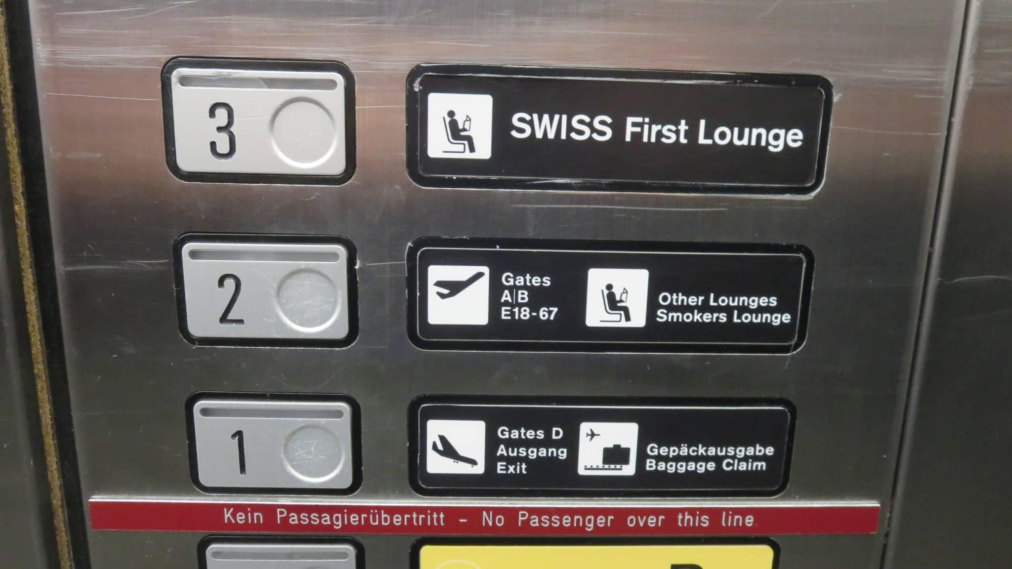 Swiss First Class Lounge Zürich E Fahrstuhl