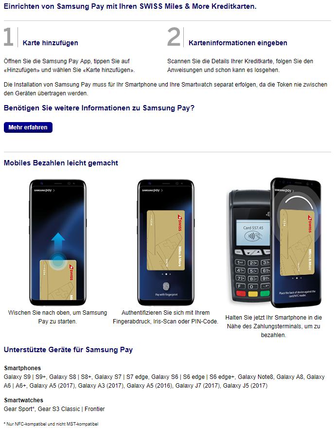 """Landing Page für die """"Registrierung"""" von Samsung Pay und Übersicht der kompatiblen Smartphones und Smartwatches"""
