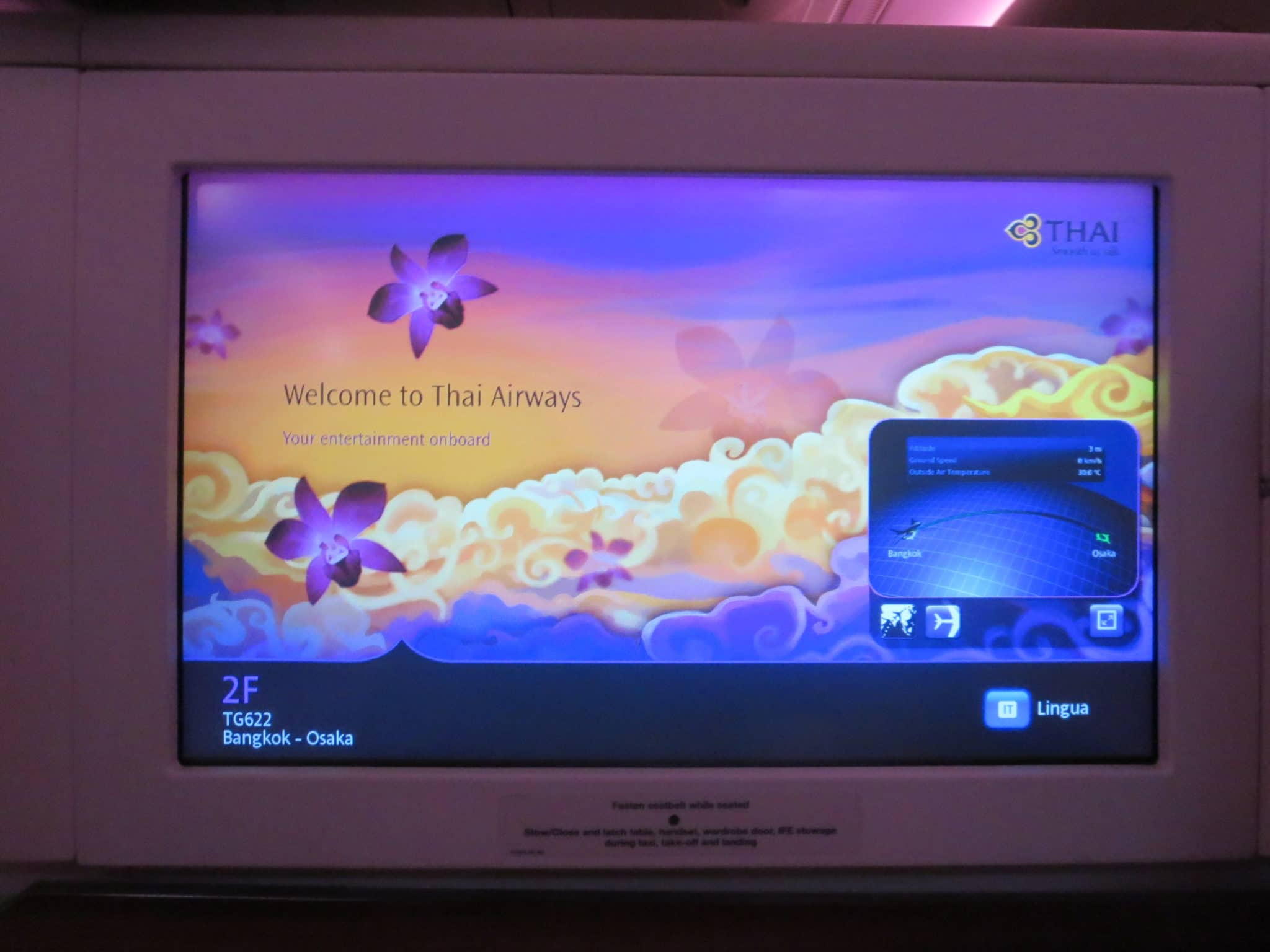 Thai Airways First Class A380 Bildschirm