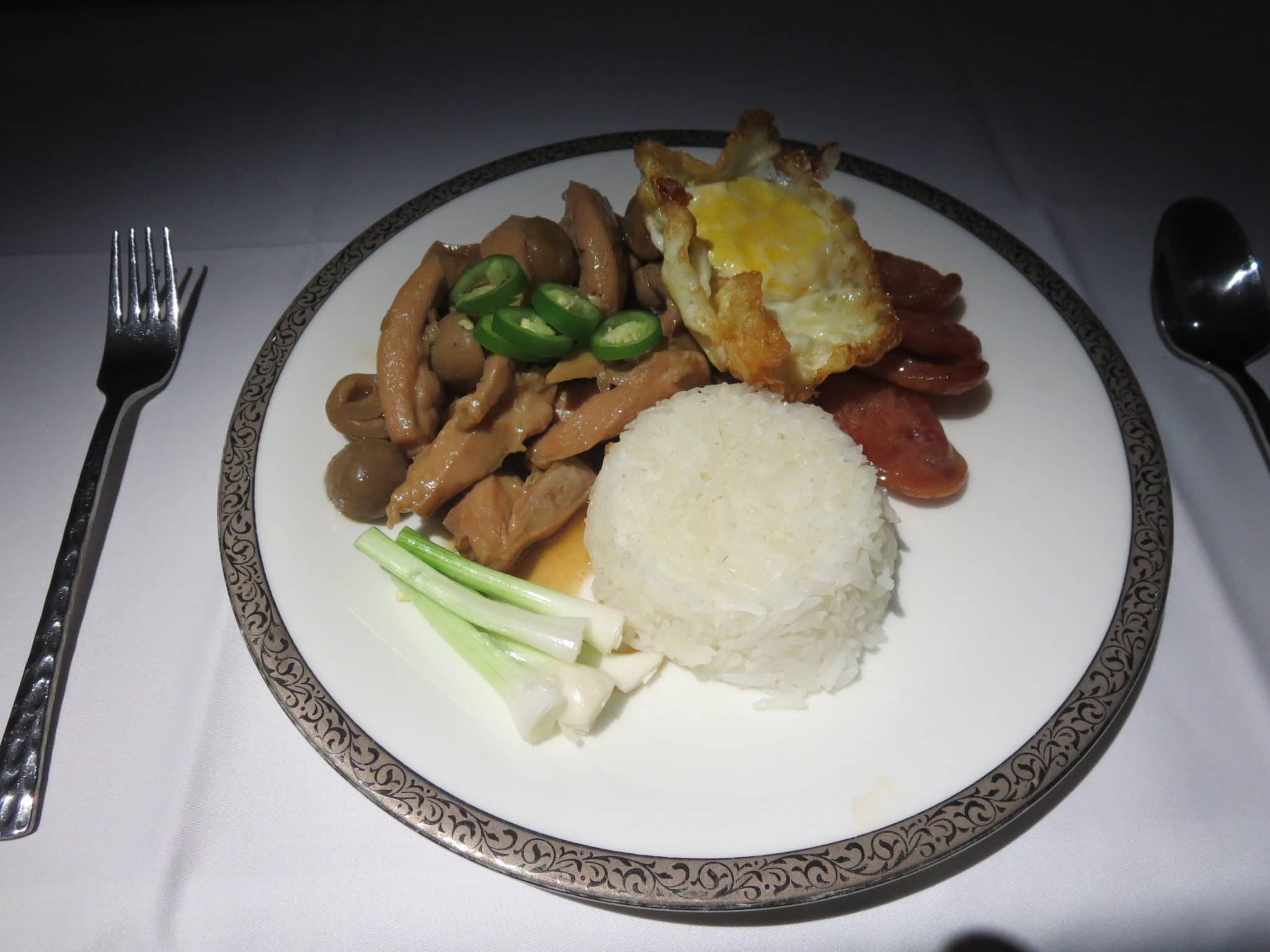 Thai Airways First Class Abendessen