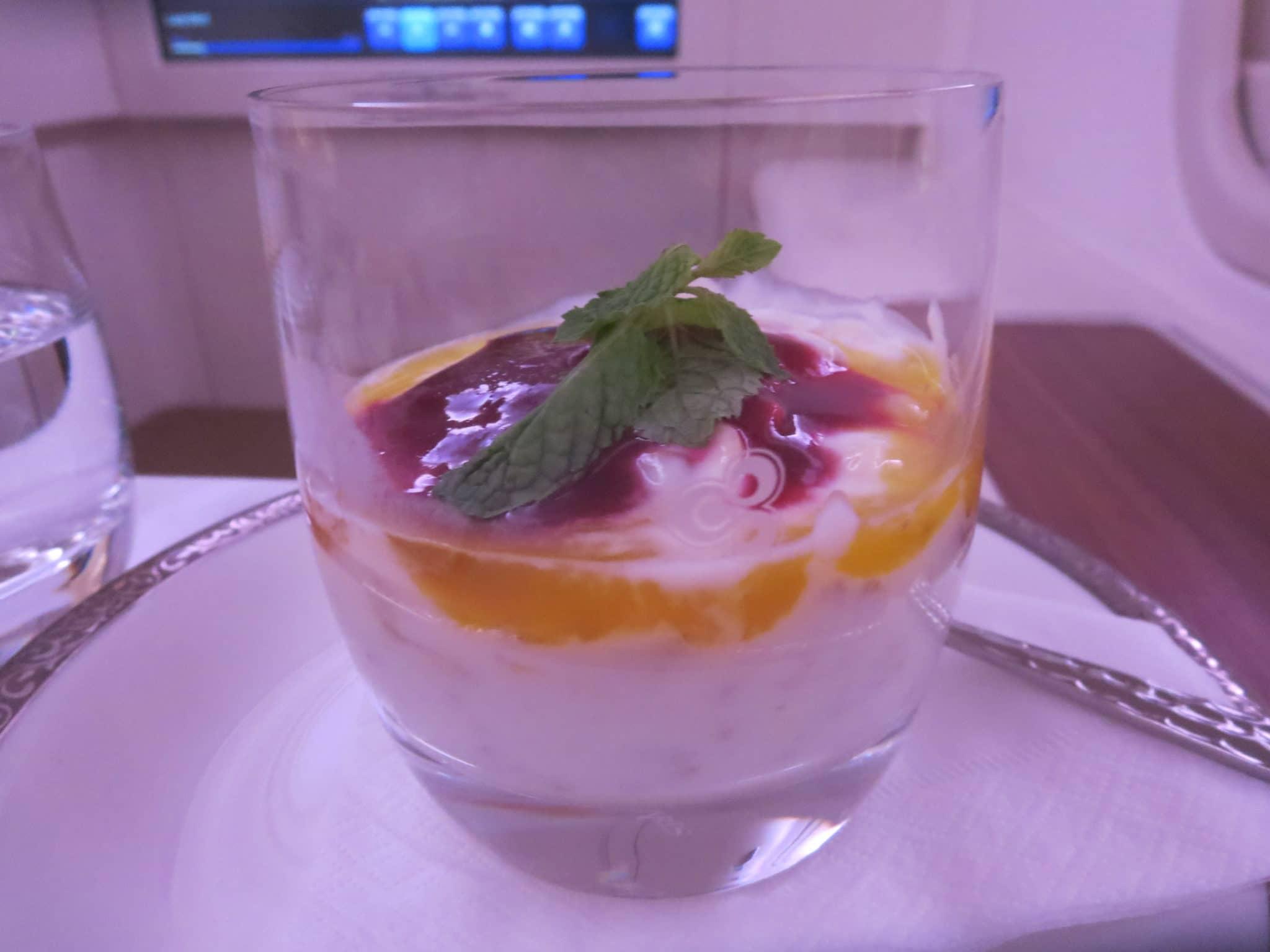 Thai Airways First Class Frühstück Müsli