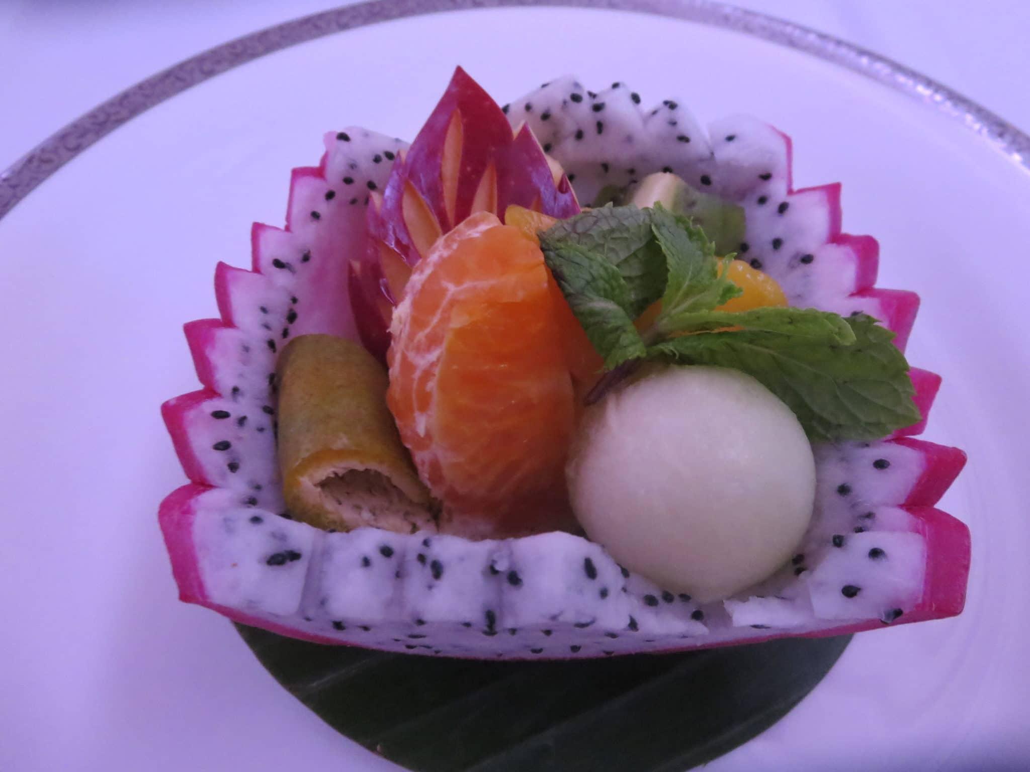 Thai Airways First Class Frühstück Früchte