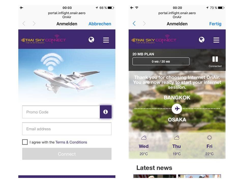 Thai Airways First Class Internet Pakete