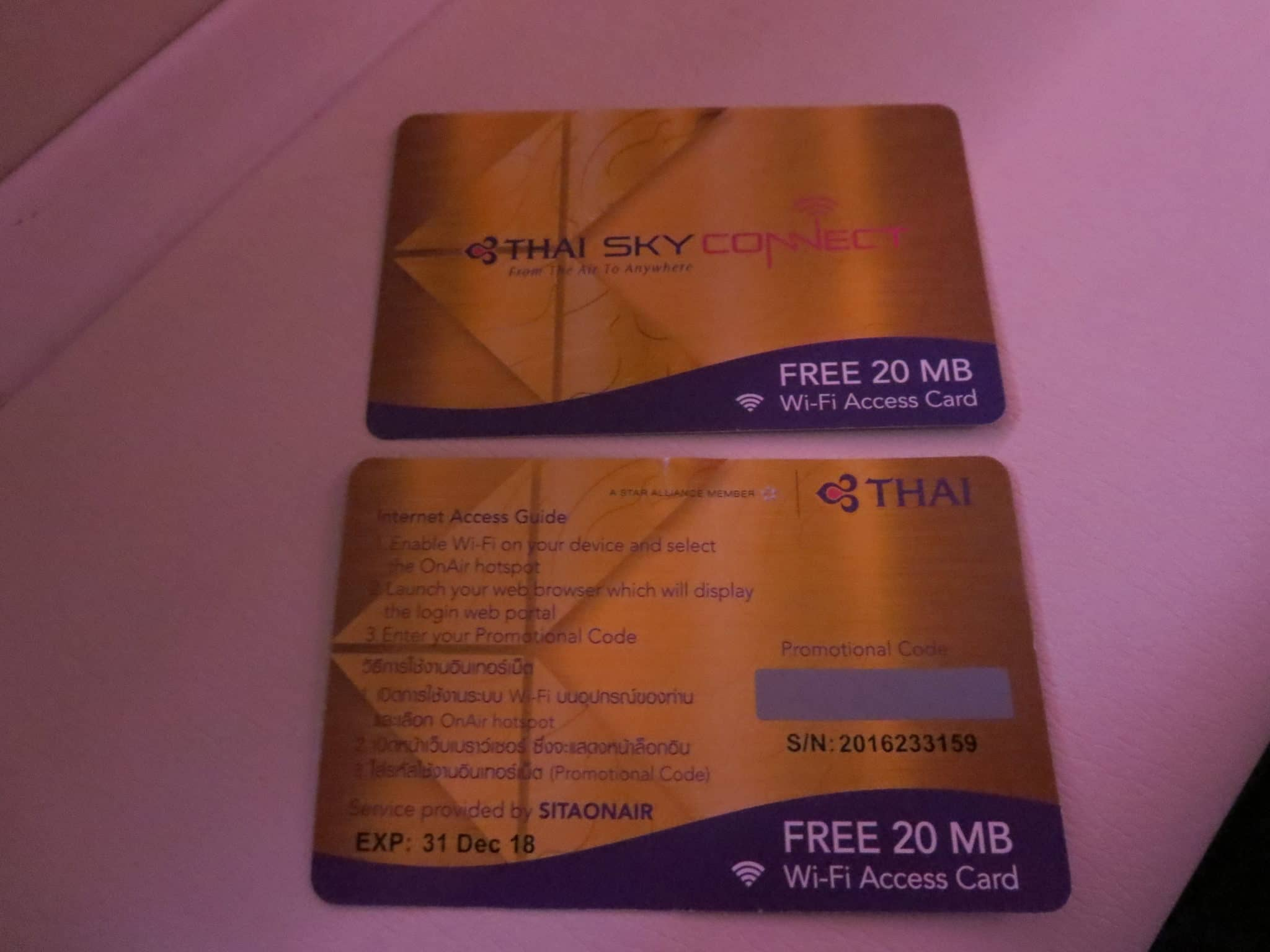 Thai Airways First Class Internet 20MB Gutschein