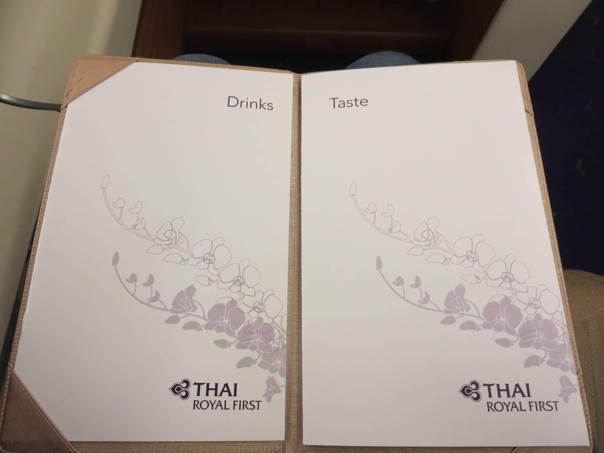 Thai Airways First Class Menü Bangkok Osaka