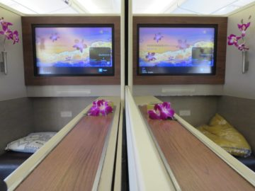 Thai Airways First Class Boeing 747 Seitenablage