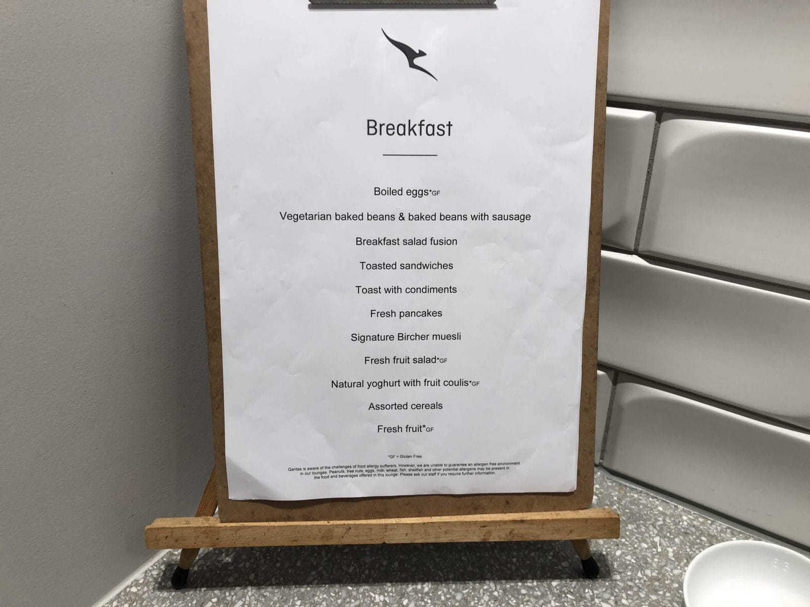 The Qantas Club Melbourne Auswahl an Frühstück
