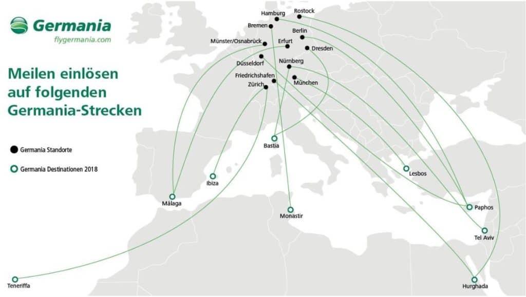 Germania Strecken auf denen das Einlösen von topbonus Meilen möglich ist