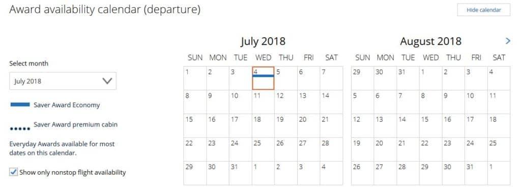 Kalender Übersicht der Mileage Plus Prämienflug-Suche für einen Flug von Honolulu nach Auckland © united.com