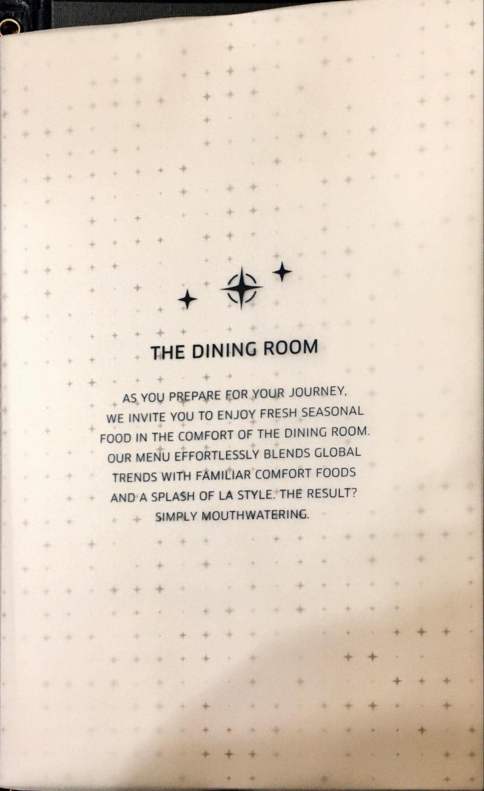 United Polaris Lounge LAX - Dining Room Menü