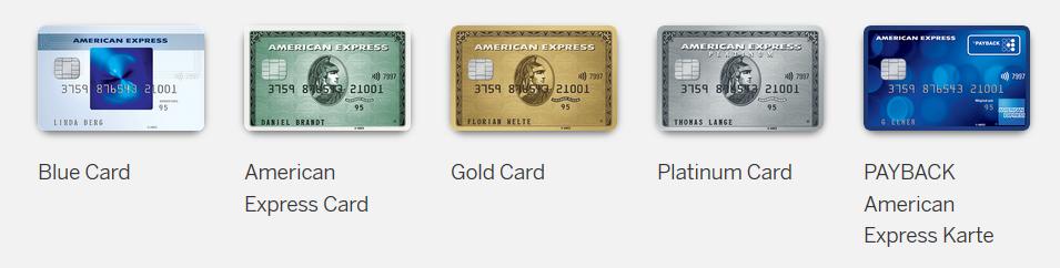 Die wichtigsten American Express Kreditkarten für Privatpersonen